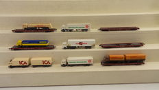 Fleischmann N - 8270/8271/8275/8276 - 5 low-floor wagons for heavy goods vehicle transports of the DB