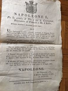 Decrees of Napoleon I king of Italy: 5 original prints
