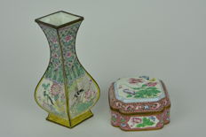 An enamelled vase and box with lid - China - around 1920