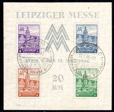 "Soviet zone – 1946 – ""Leipzig trade fair"" with watermark with flat falling steps"",  block 5Xa III"