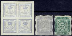 Spain 1870 – Amadeo I period – Edifil 115, 116 and 117