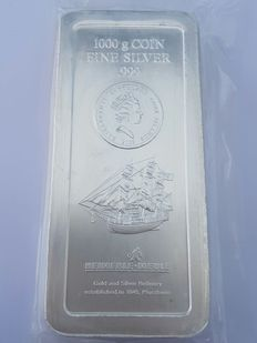 Cook Islands - $30 - 1 kg - 1000 grams of 999 fine silver - Bounty Sailing Ship 2008 - Silver bar / coins bars