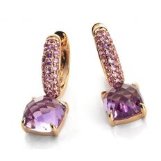 """Chimento – """"Sibilla"""" dangle earrings of 18 kt rose gold with amethyst and punk sapphire - Pendant length 20 mm"""