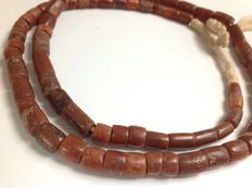 Strand of carnelian and jasper - excavation beads