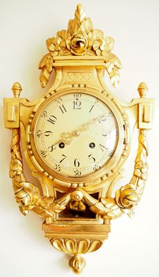 Beautiful Cartel Wall Clock Gilded Wood Case Westerstrand Sweden - 1949