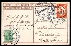 German Empire 1912 – air mail from the Rhein and Main, 2 air postal card
