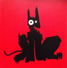 DZM - Black cat is listening to a loud music in the red room