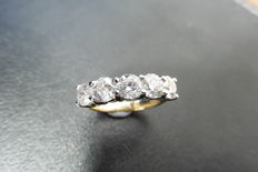 18k Gold Five Stone Diamond Ring - 1.50ct  I/J, SI2 - size 52