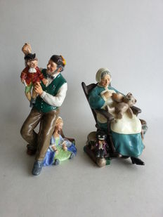 Royal Doulton - Two earthenware sculptures 'The puppetmaker' and 'Nanny'