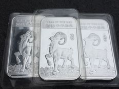 USA - 3 x 1 oz 999 Silver Silberbarren Lunar Drache Jahr der Ziege - Year of the Goat 2015