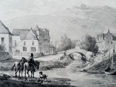 O.G.V. Van Os (19th century) - Men with two hores and dog at waterside