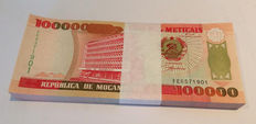 Mozambique - 100,000 Meticais 1993 - In original bundle of 100 - Pick 139