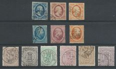 The Netherlands 1852/1871 - King Willem III and weapon stamps - NVPH 1/3, 4/6, 13/18