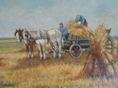 Unknown (20th century) -  Boeren met hooiwagen werkend op het land / Farmers with hay cart working on the field