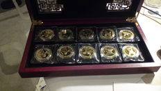 China - Set of 10 medals 'Year of the Horse' - 10x 1/3oz gilt Silver