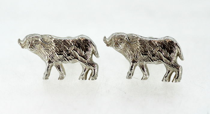 Sterling Silver Bull Cufflinks, By Holland & Holland, London 2009