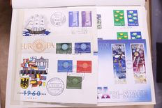 Europa stamps 1954/2009 – Batch of FDCs and covers in 4 stock books + loose