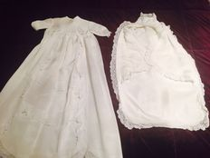 Girl Christening dress + cotton baby holder with lace, Italy, first half of the 20th century