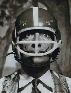 Philippe Halsman (1906-1979) /LIFE magazine - Salvador Dalí wearing a football helmet - 1964