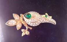 Swarovski bird brooch – 18 kt gold plated