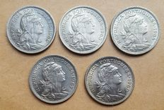 Portugal – 5 coins of 50 escudo cents – 1962 to 1968 – Lisbon