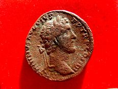 Roman Empire - Antoninus Pius (138 - 161 A.D.) bronze sestertius (27,52 g, 31 mm ). Rome mint. 141-143 A.D.  Anephigrafic revers with Ops seated left.