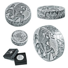 Scottsdale Mint - 5 oz - 3,000 Francs - Republic of Chad - 2016 - Silver King Tutankhamun - 999 Antique Proof Finish Silver