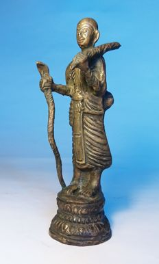 Walking Monk Statue -Bronze- Thailand - second half 20th century