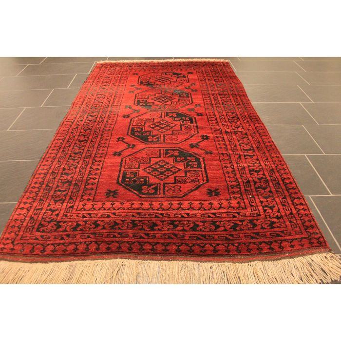 Beautiful Afghan Art Deco Oriental Carpet Wool On Wool