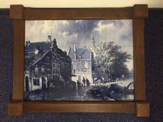 Delftware tile panel with Delft cityscape, second half of 20th century, the Netherlands