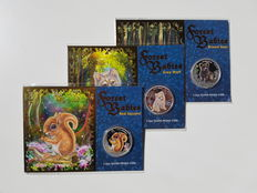 Tuvalu - 1 Dollar 2013 'Forest Babies-series' (Red Squirrel, Grey Wolf, Brown Bear) in coincards - 3x ½oz Silver