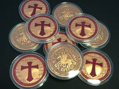 USA - 10 pieces of 1 oz 999 copper - Knights Templar / Crusader - Soldiers of Christ - 10 x 999 copper - colour Edition