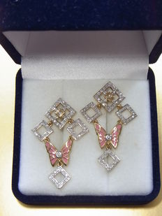 Gold and enamel earrings with diamonds total 1,05 ct - Length 4 cm