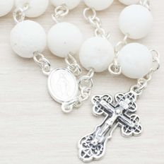 Rosary made of White Lava Stone beads with Sterling silver 925 .