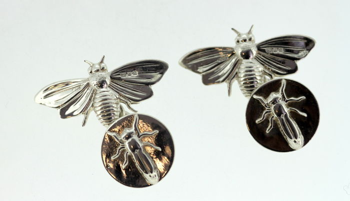 Sterling Silver Bee Cufflinks, By GJD, London 1997