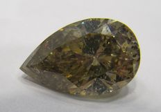 GIA 9.28  ct Loose Pear Brilliant cut Natural Fancy Yellow - Brown diamond
