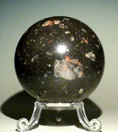 Polished Impactite Sphere - 330g - 62 mm diameter
