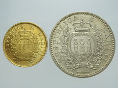 San Marino – 1 Lire 1898 e 1 Scudo 1975 – gold and silver