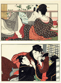 N.2 abuna-e woodblock prints (reproductions) - Kitagawa Utamaro - Utamakura - Japan - second half of the twentieth century