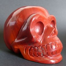 Hand-crafted Red Jasper skull - 10.4 x 8 cm - 839gm