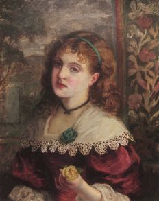 William Maw Egly (London, 1826 - 1916) - Young woman with rose