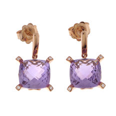 "Chimento – ""Iris"" rose gold dangle earrings with amethyst and diamond"
