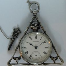 A.W.W.Co. Waltham, Mass, USA  - Triangular Masonic Skull Silver Pocket Watch Circa 1890