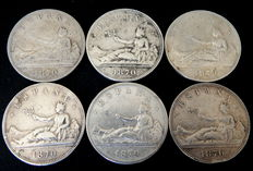 Spain – Provisional Government – 6 silver coins of 5 pesetas, year 1870, SNM.