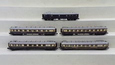 Hobbytrain N - 20500 - 5 Piece set with High speed train Passenger carriages Rheingold, 1st/2nd Class and Baggage/Post carriagewith interior lighting of the DR