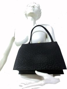 Vintage rarity - genuine ostrich leather handbag