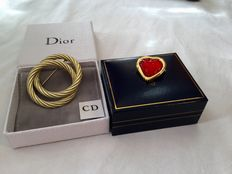 Two vintage brooches - gold tone Christian Dior and Yves Saint Laurent