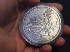 USA - Nordic Creatures - Dragon - Nidhoggr 2016 - 5 oz 999 silver - antique silver finish + proof - with box & certificate - first edition