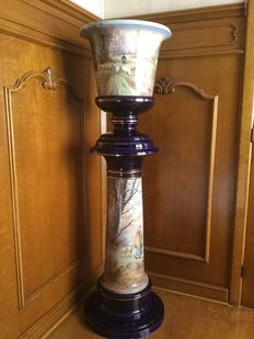 Emile Lombart for faïencerie Saint Ghislain -  Extraordinary and rare cachepot by Emile Lombart