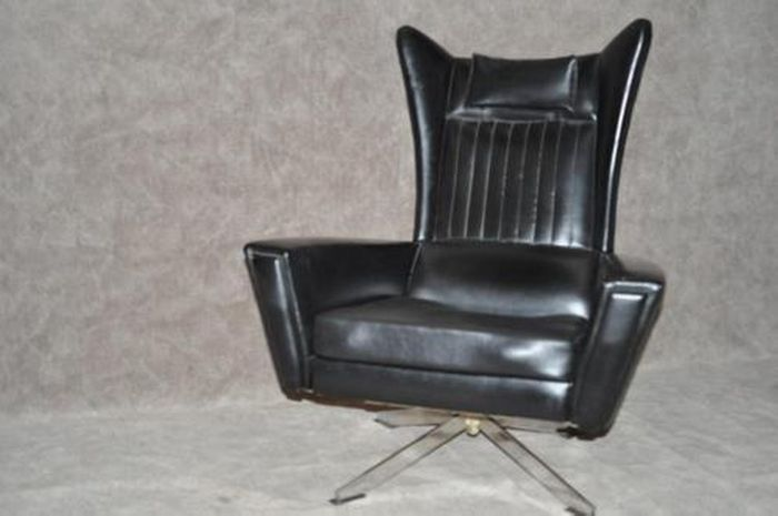 Producer Unknown   Vintage Faux Leather Armchair On Chrome Swivel Foot